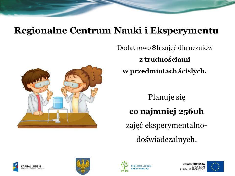 Regionalne Centrum Nauki i Eksperymentu Dodatkowo 8h zajęć dla uczniów z trudnościami w przedmiotach ścisłych.