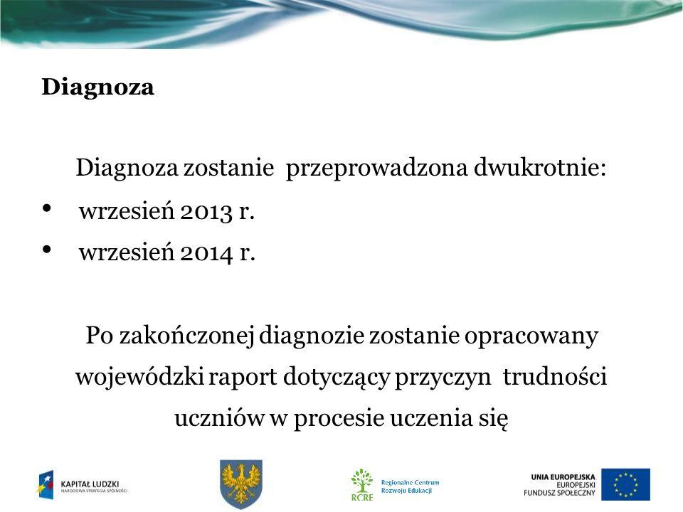 Diagnoza Diagnoza zostanie przeprowadzona dwukrotnie: wrzesień 2013 r.