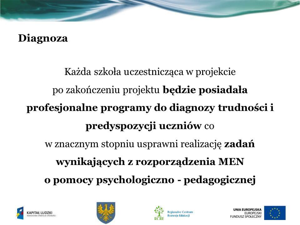 Diagnoza Każda szkoła uczestnicząca w projekcie po zakończeniu projektu będzie posiadała profesjonalne programy do diagnozy trudności i predyspozycji uczniów co w znacznym stopniu usprawni realizację zadań wynikających z rozporządzenia MEN o pomocy psychologiczno - pedagogicznej