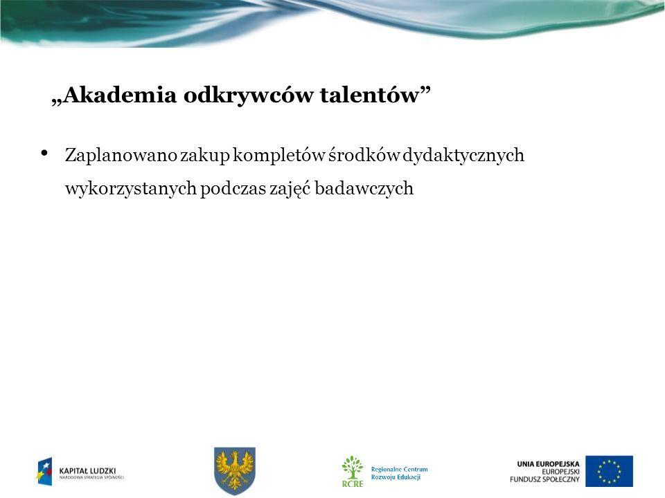 Zaplanowano zakup kompletów środków dydaktycznych wykorzystanych podczas zajęć badawczych Akademia odkrywców talentów