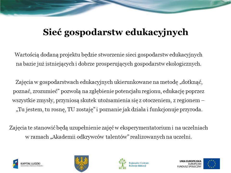 Sieć gospodarstw edukacyjnych Wartością dodaną projektu będzie stworzenie sieci gospodarstw edukacyjnych na bazie już istniejących i dobrze prosperujących gospodarstw ekologicznych.
