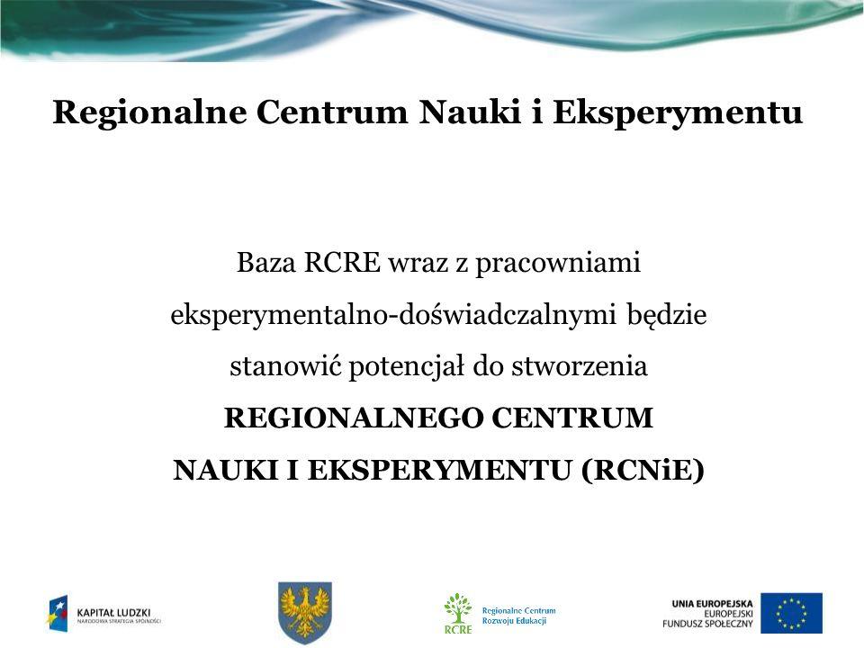 Regionalne Centrum Nauki i Eksperymentu Baza RCRE wraz z pracowniami eksperymentalno-doświadczalnymi będzie stanowić potencjał do stworzenia REGIONALNEGO CENTRUM NAUKI I EKSPERYMENTU (RCNiE)