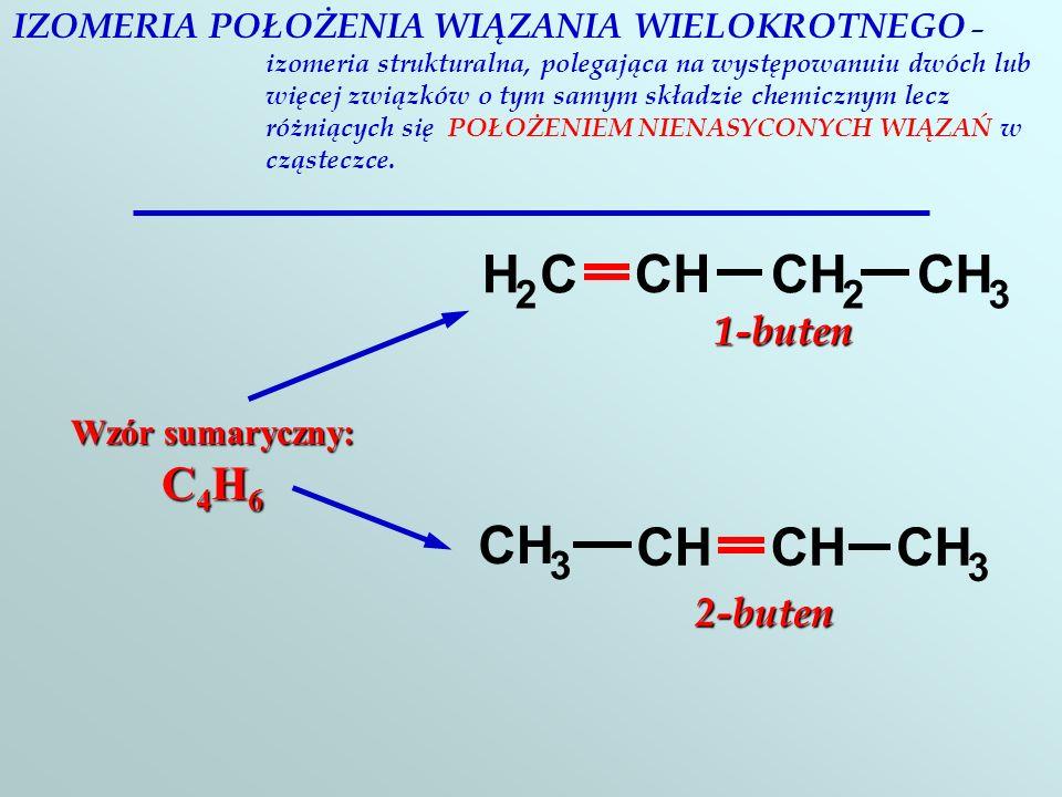 IZOMERIA POŁOŻENIA WIĄZANIA WIELOKROTNEGO – izomeria strukturalna, polegająca na występowanuiu dwóch lub więcej związków o tym samym składzie chemicznym lecz różniących się POŁOŻENIEM NIENASYCONYCH WIĄZAŃ w cząsteczce.