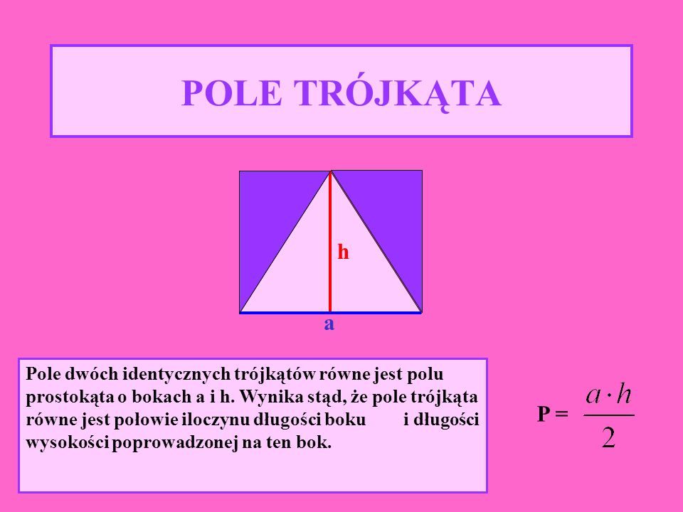 Pole dwóch identycznych rombów równe jest polu prostokąta, czyli e · f.