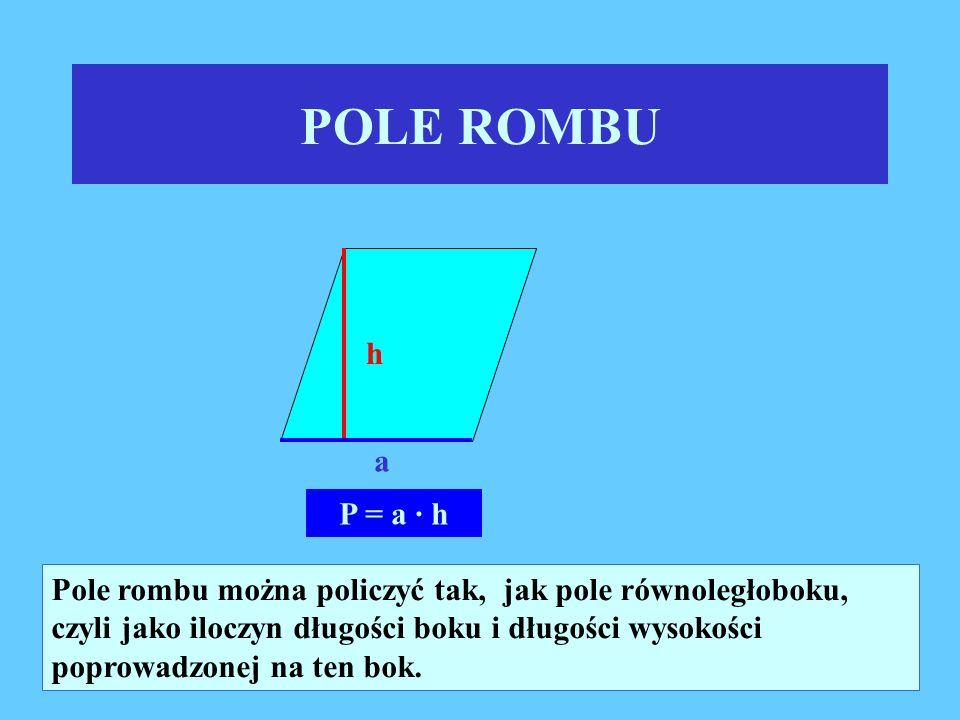 POLE RÓWNOLEGŁOBOKU h a Pole równoległoboku równe jest iloczynowi długości jego boku i długości wysokości poprowadzonej na ten bok.