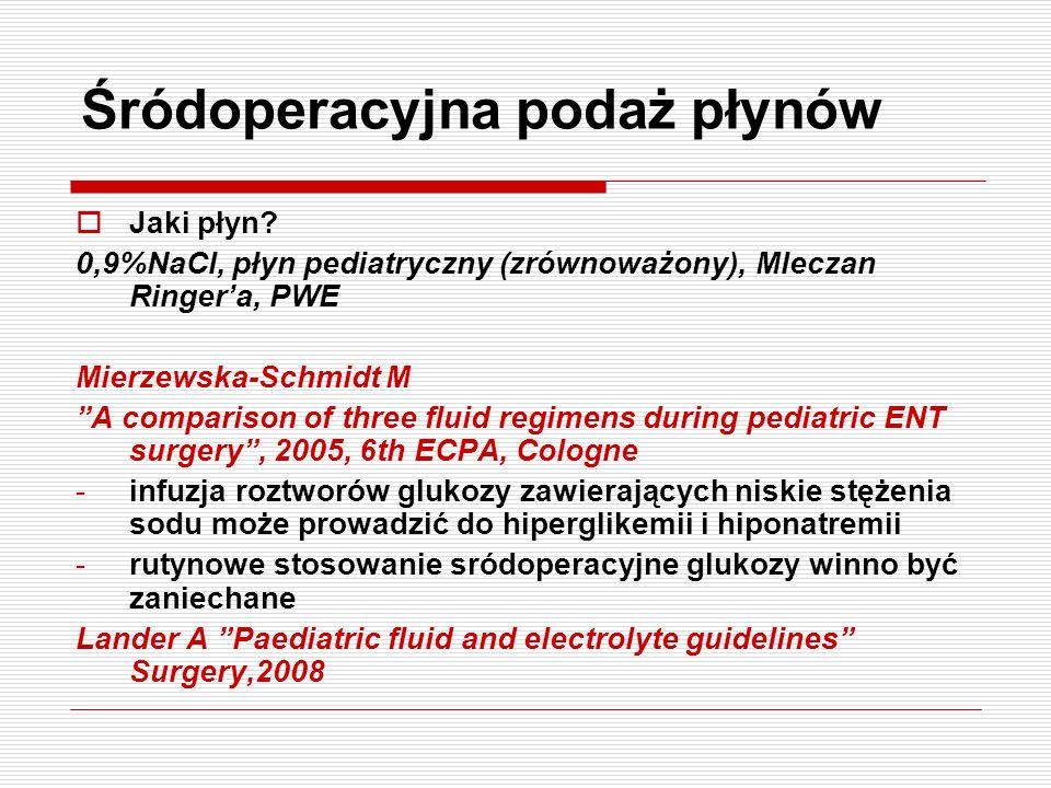 Śródoperacyjna podaż płynów Jaki płyn? 0,9%NaCl, płyn pediatryczny (zrównoważony), Mleczan Ringera, PWE Mierzewska-Schmidt M A comparison of three flu
