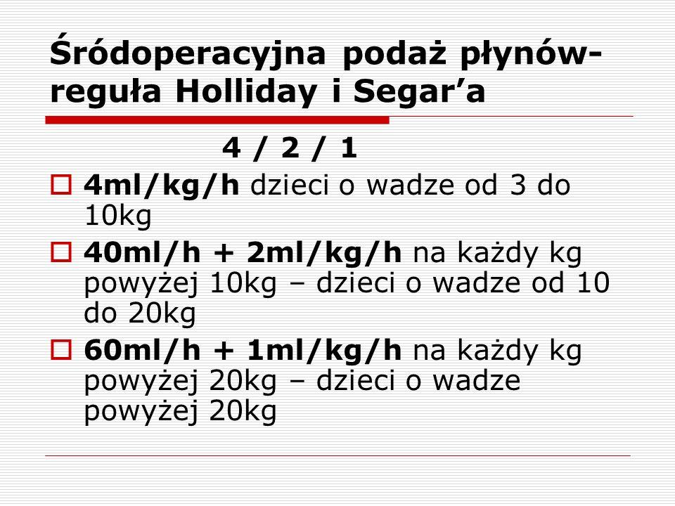 Śródoperacyjna podaż płynów- reguła Holliday i Segara 4 / 2 / 1 4ml/kg/h dzieci o wadze od 3 do 10kg 40ml/h + 2ml/kg/h na każdy kg powyżej 10kg – dzieci o wadze od 10 do 20kg 60ml/h + 1ml/kg/h na każdy kg powyżej 20kg – dzieci o wadze powyżej 20kg