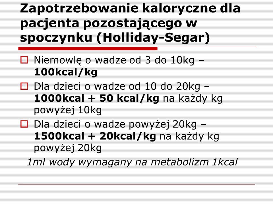 Zapotrzebowanie kaloryczne dla pacjenta pozostającego w spoczynku (Holliday-Segar) Niemowlę o wadze od 3 do 10kg – 100kcal/kg Dla dzieci o wadze od 10 do 20kg – 1000kcal + 50 kcal/kg na każdy kg powyżej 10kg Dla dzieci o wadze powyżej 20kg – 1500kcal + 20kcal/kg na każdy kg powyżej 20kg 1ml wody wymagany na metabolizm 1kcal
