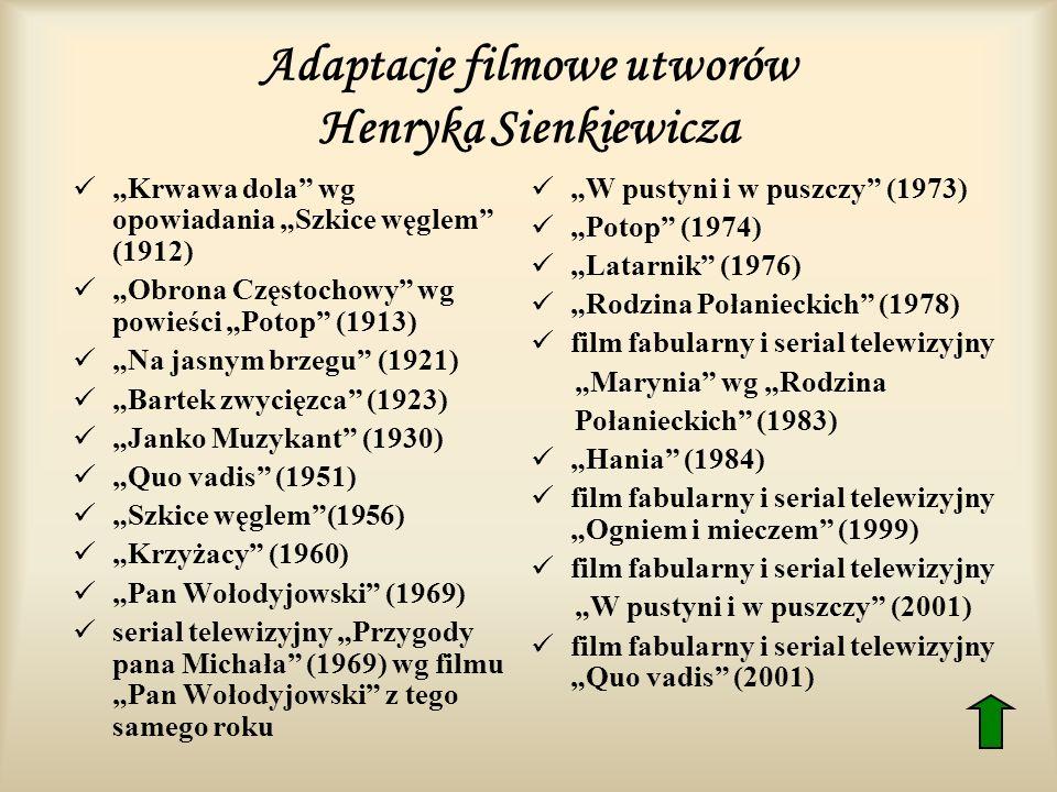 Adaptacje filmowe utworów Henryka Sienkiewicza Krwawa dola wg opowiadania Szkice węglem (1912) Obrona Częstochowy wg powieści Potop (1913) Na jasnym b