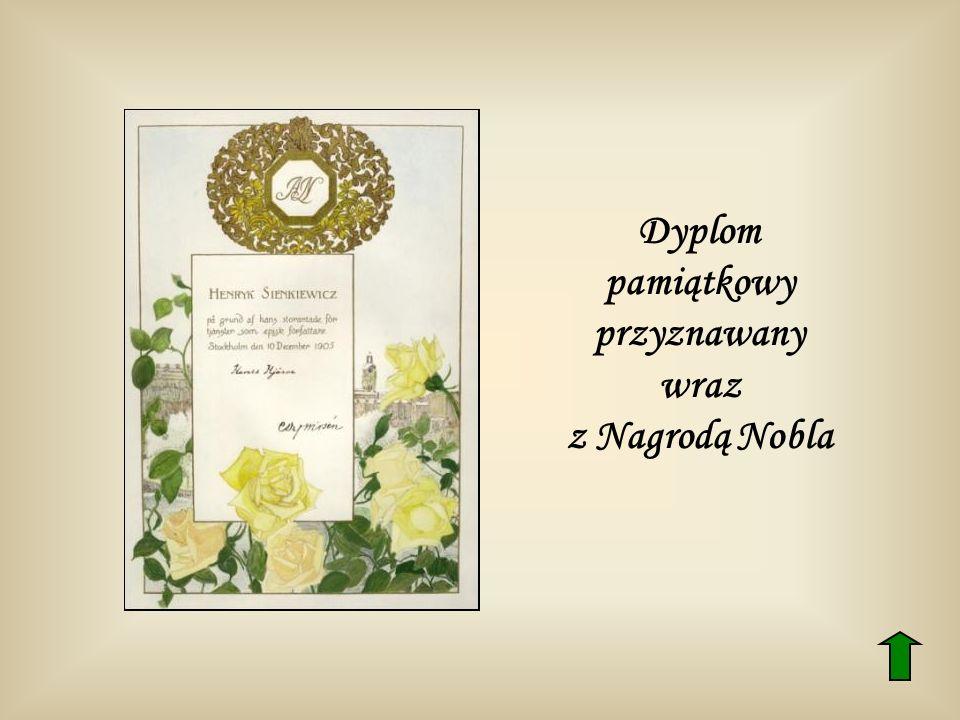 Dyplom pamiątkowy przyznawany wraz z Nagrodą Nobla