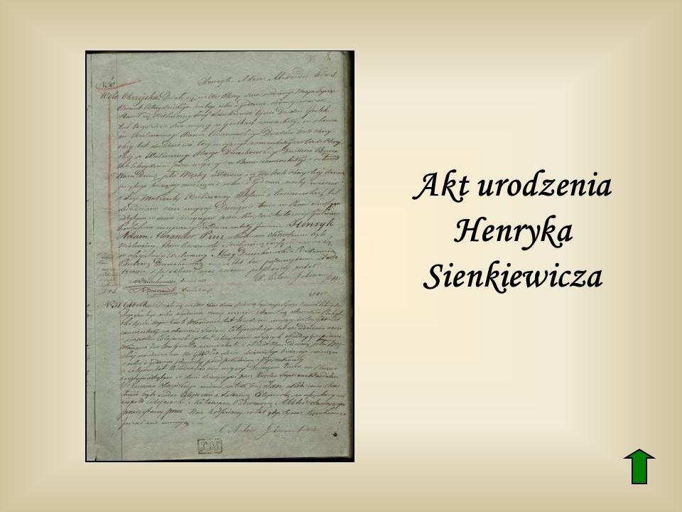 Akt urodzenia Henryka Sienkiewicza