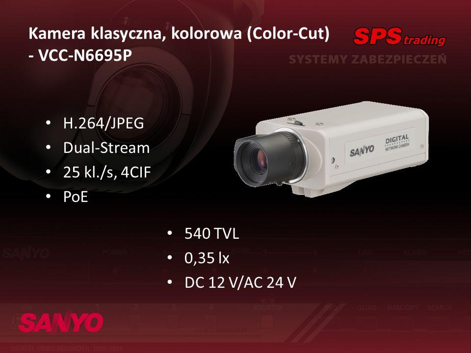 Kamera klasyczna, kolorowa (Color-Cut) - VCC-N6695P H.264/JPEG Dual-Stream 25 kl./s, 4CIF PoE 540 TVL 0,35 lx DC 12 V/AC 24 V