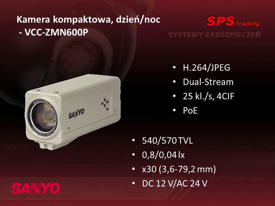 Kamera kompaktowa, dzień/noc - VCC-ZMN600P H.264/JPEG Dual-Stream 25 kl./s, 4CIF PoE 540/570 TVL 0,8/0,04 lx x30 (3,6-79,2 mm) DC 12 V/AC 24 V