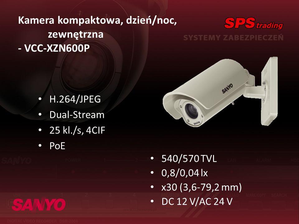 Kamera kompaktowa, dzień/noc, zewnętrzna - VCC-XZN600P H.264/JPEG Dual-Stream 25 kl./s, 4CIF PoE 540/570 TVL 0,8/0,04 lx x30 (3,6-79,2 mm) DC 12 V/AC