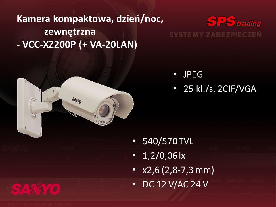 Kamera kompaktowa, dzień/noc, zewnętrzna - VCC-XZ200P (+ VA-20LAN) JPEG 25 kl./s, 2CIF/VGA 540/570 TVL 1,2/0,06 lx x2,6 (2,8-7,3 mm) DC 12 V/AC 24 V