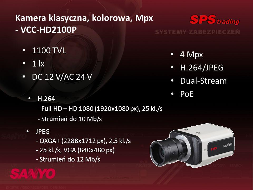 Kamera klasyczna, kolorowa, Mpx - VCC-HD2100P 4 Mpx H.264/JPEG Dual-Stream PoE 1100 TVL 1 lx DC 12 V/AC 24 V H.264 - Full HD – HD 1080 (1920x1080 px),