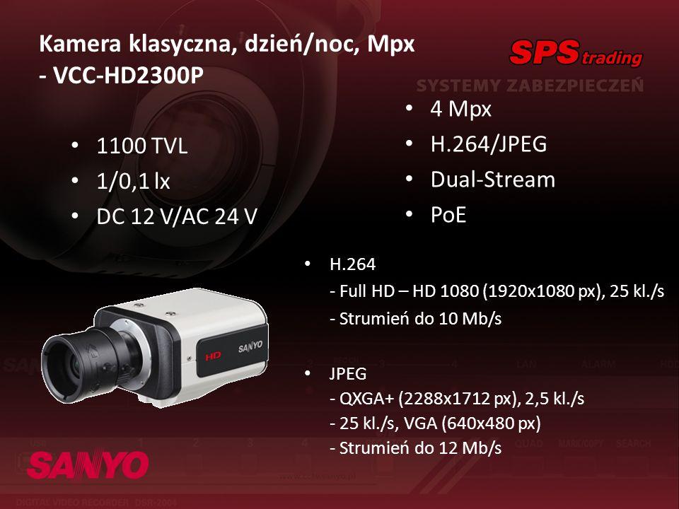 Kamera klasyczna, dzień/noc, Mpx - VCC-HD2300P 4 Mpx H.264/JPEG Dual-Stream PoE H.264 - Full HD – HD 1080 (1920x1080 px), 25 kl./s - Strumień do 10 Mb