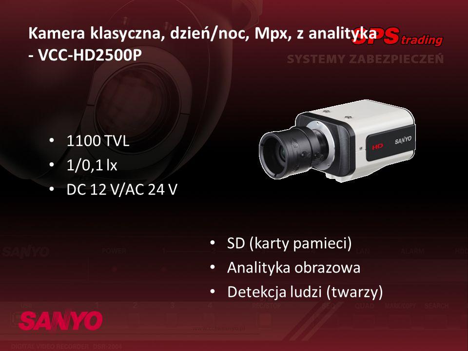 1100 TVL 1/0,1 lx DC 12 V/AC 24 V Kamera klasyczna, dzień/noc, Mpx, z analityka - VCC-HD2500P SD (karty pamieci) Analityka obrazowa Detekcja ludzi (tw