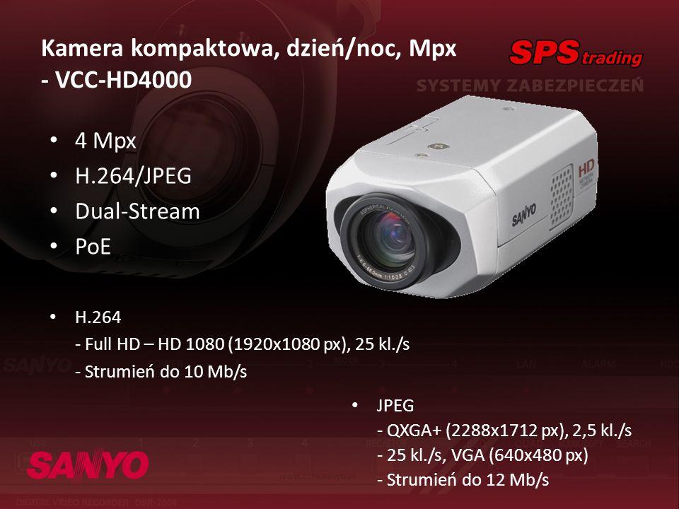 Kamera kompaktowa, dzień/noc, Mpx - VCC-HD4000 4 Mpx H.264/JPEG Dual-Stream PoE H.264 - Full HD – HD 1080 (1920x1080 px), 25 kl./s - Strumień do 10 Mb