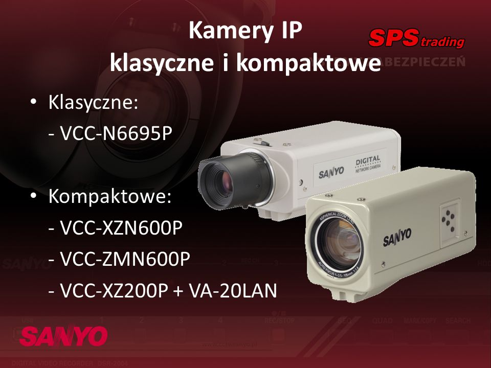 Kamery IP klasyczne i kompaktowe Klasyczne: - VCC-N6695P Kompaktowe: - VCC-XZN600P - VCC-ZMN600P - VCC-XZ200P + VA-20LAN