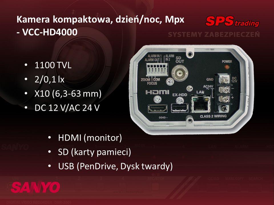 Kamera kompaktowa, dzień/noc, Mpx - VCC-HD4000 HDMI (monitor) SD (karty pamieci) USB (PenDrive, Dysk twardy) 1100 TVL 2/0,1 lx X10 (6,3-63 mm) DC 12 V