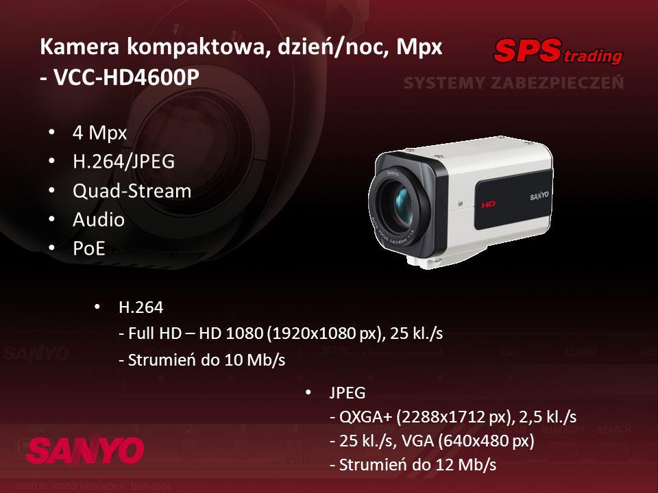 Kamera kompaktowa, dzień/noc, Mpx - VCC-HD4600P 4 Mpx H.264/JPEG Quad-Stream Audio PoE H.264 - Full HD – HD 1080 (1920x1080 px), 25 kl./s - Strumień d