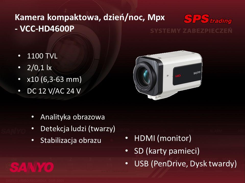 Kamera kompaktowa, dzień/noc, Mpx - VCC-HD4600P HDMI (monitor) SD (karty pamieci) USB (PenDrive, Dysk twardy) 1100 TVL 2/0,1 lx x10 (6,3-63 mm) DC 12