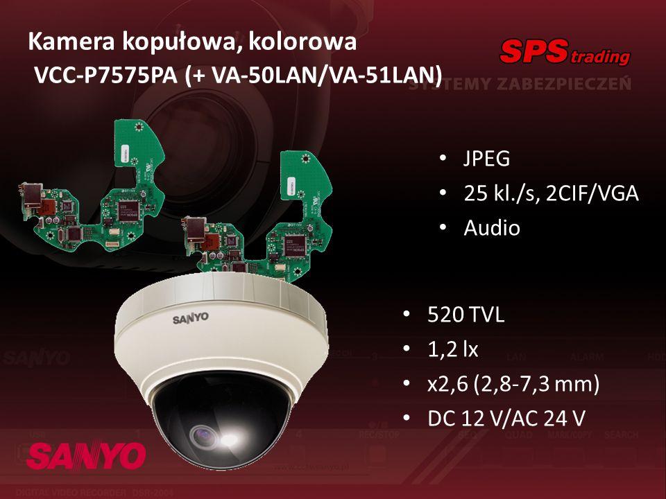 Kamera kopułowa, kolorowa VCC-P7575PA (+ VA-50LAN/VA-51LAN) JPEG 25 kl./s, 2CIF/VGA Audio 520 TVL 1,2 lx x2,6 (2,8-7,3 mm) DC 12 V/AC 24 V