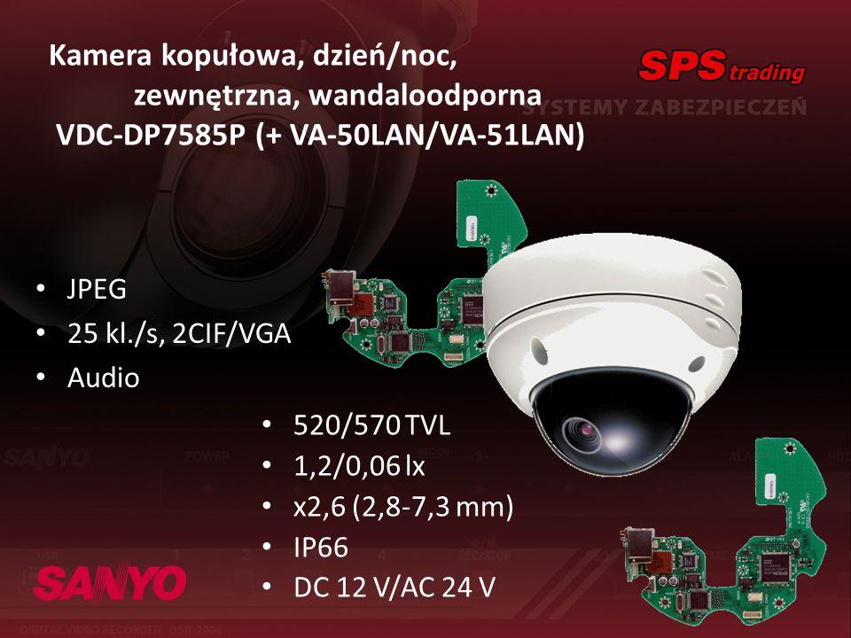 Kamera kopułowa, dzień/noc, zewnętrzna, wandaloodporna VDC-DP7585P (+ VA-50LAN/VA-51LAN) JPEG 25 kl./s, 2CIF/VGA Audio 520/570 TVL 1,2/0,06 lx x2,6 (2