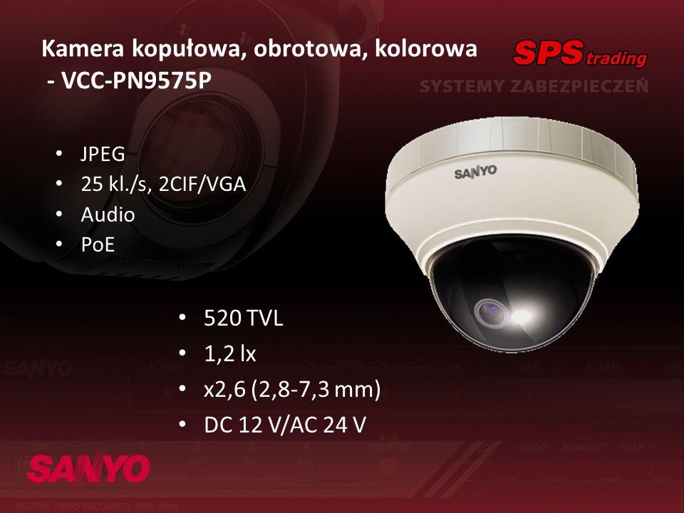 Kamera kopułowa, obrotowa, kolorowa - VCC-PN9575P JPEG 25 kl./s, 2CIF/VGA Audio PoE 520 TVL 1,2 lx x2,6 (2,8-7,3 mm) DC 12 V/AC 24 V