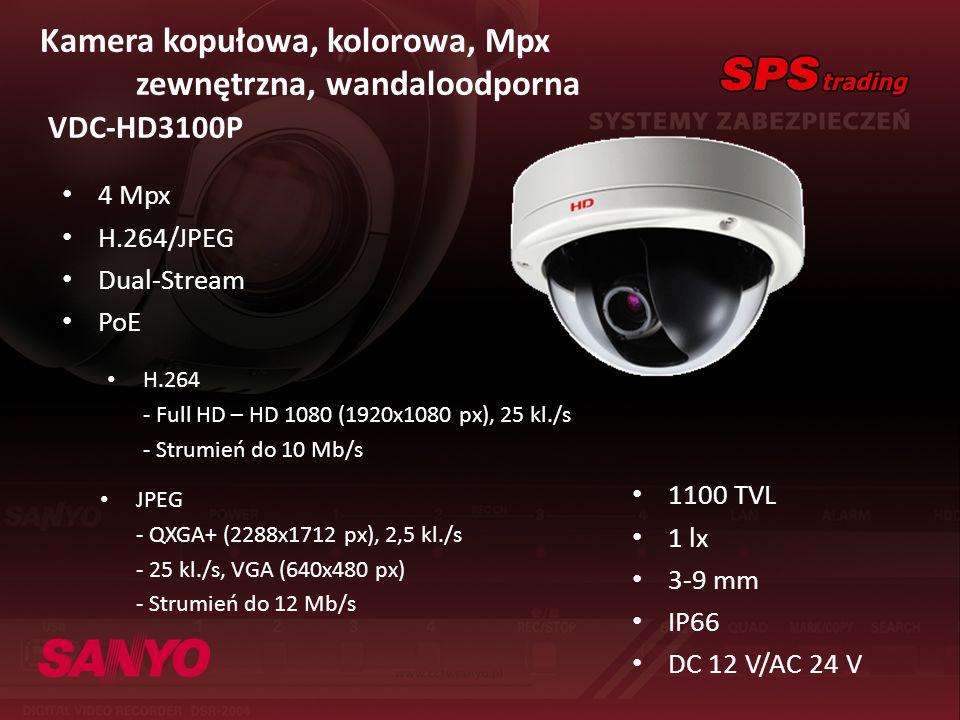 Kamera kopułowa, kolorowa, Mpx zewnętrzna, wandaloodporna VDC-HD3100P 4 Mpx H.264/JPEG Dual-Stream PoE 1100 TVL 1 lx 3-9 mm IP66 DC 12 V/AC 24 V H.264