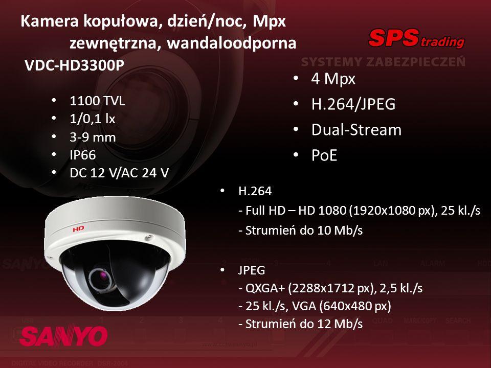 Kamera kopułowa, dzień/noc, Mpx zewnętrzna, wandaloodporna VDC-HD3300P 4 Mpx H.264/JPEG Dual-Stream PoE H.264 - Full HD – HD 1080 (1920x1080 px), 25 k
