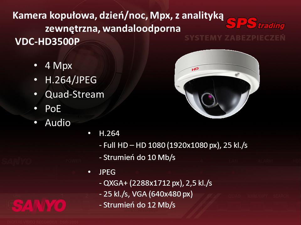 Kamera kopułowa, dzień/noc, Mpx, z analityką zewnętrzna, wandaloodporna VDC-HD3500P 4 Mpx H.264/JPEG Quad-Stream PoE Audio H.264 - Full HD – HD 1080 (