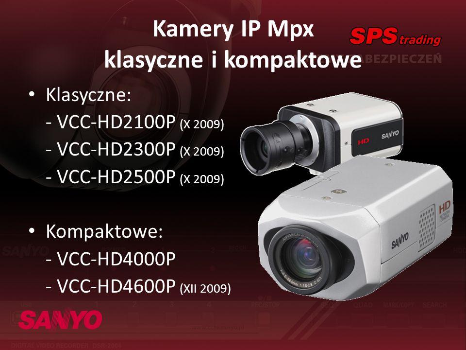 Kamery IP Mpx klasyczne i kompaktowe Klasyczne: - VCC-HD2100P (X 2009) - VCC-HD2300P (X 2009) - VCC-HD2500P (X 2009) Kompaktowe: - VCC-HD4000P - VCC-H