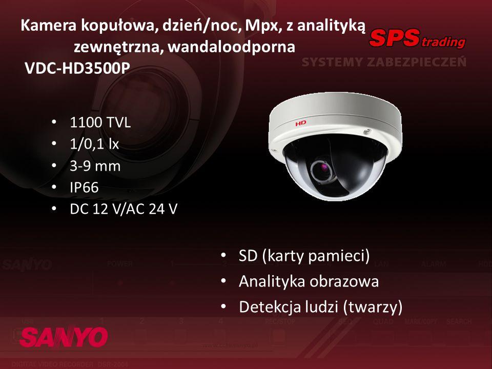 Kamera kopułowa, dzień/noc, Mpx, z analityką zewnętrzna, wandaloodporna VDC-HD3500P 1100 TVL 1/0,1 lx 3-9 mm IP66 DC 12 V/AC 24 V SD (karty pamieci) A