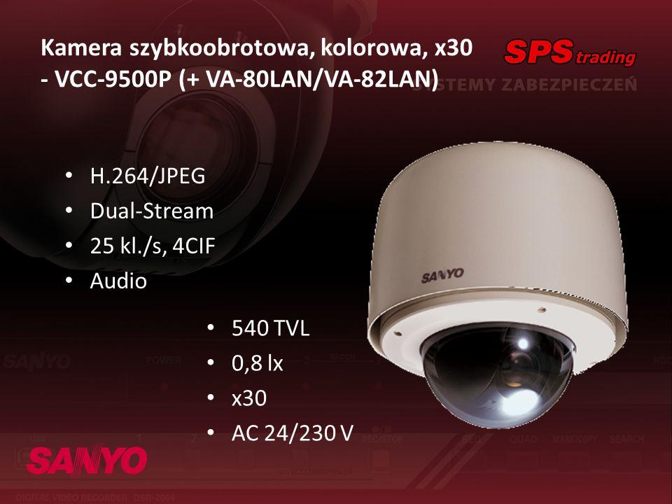 Kamera szybkoobrotowa, kolorowa, x30 - VCC-9500P (+ VA-80LAN/VA-82LAN) H.264/JPEG Dual-Stream 25 kl./s, 4CIF Audio 540 TVL 0,8 lx x30 AC 24/230 V
