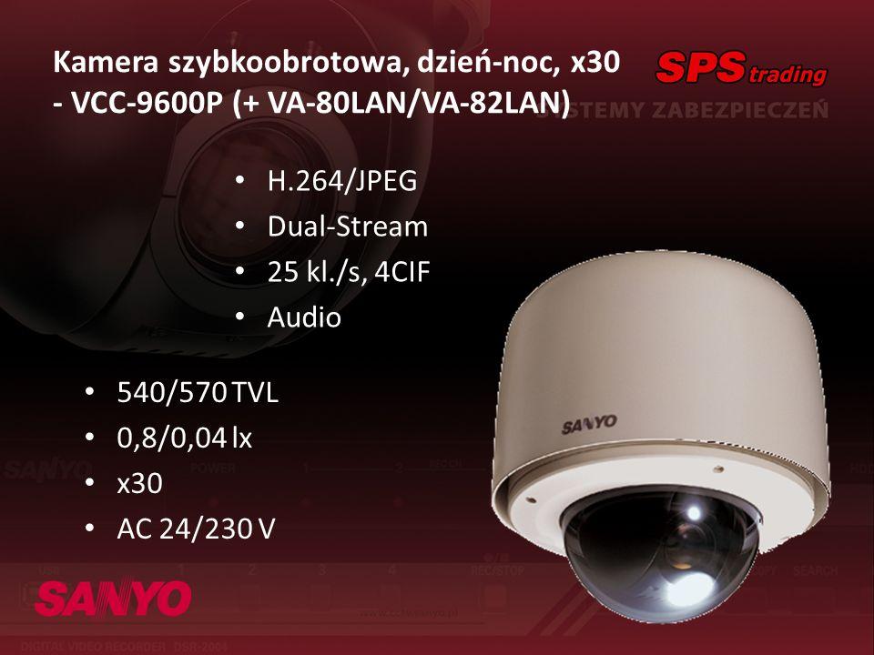 Kamera szybkoobrotowa, dzień-noc, x30 - VCC-9600P (+ VA-80LAN/VA-82LAN) H.264/JPEG Dual-Stream 25 kl./s, 4CIF Audio 540/570 TVL 0,8/0,04 lx x30 AC 24/