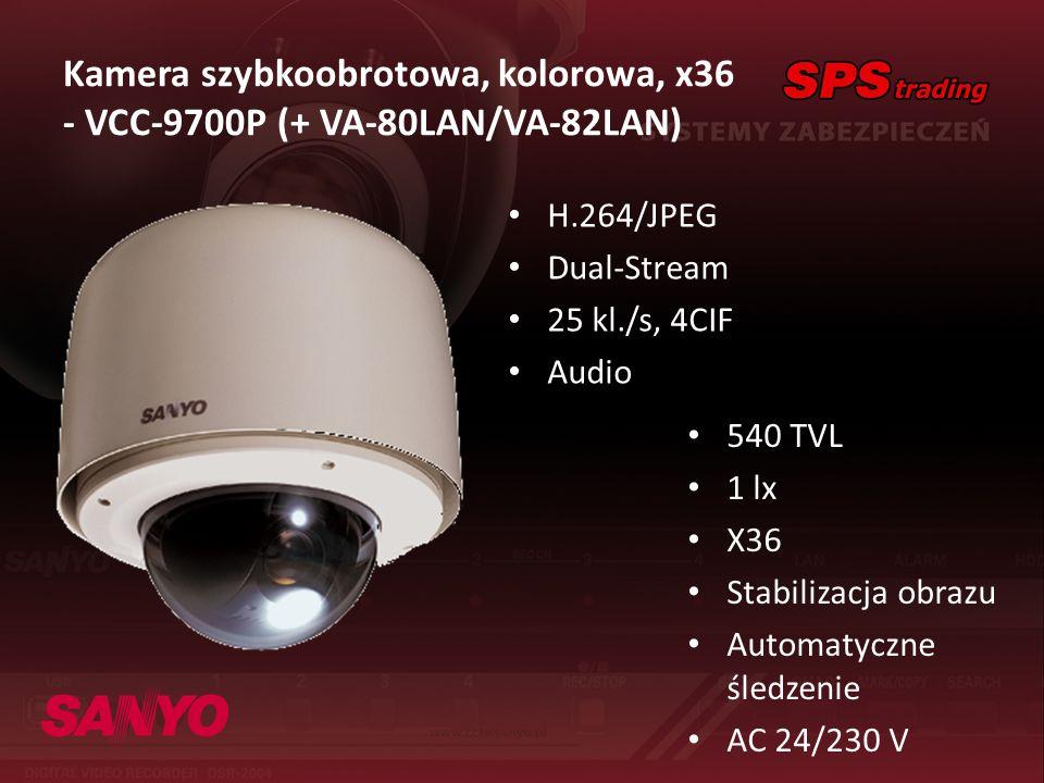 Kamera szybkoobrotowa, kolorowa, x36 - VCC-9700P (+ VA-80LAN/VA-82LAN) H.264/JPEG Dual-Stream 25 kl./s, 4CIF Audio 540 TVL 1 lx X36 Stabilizacja obraz