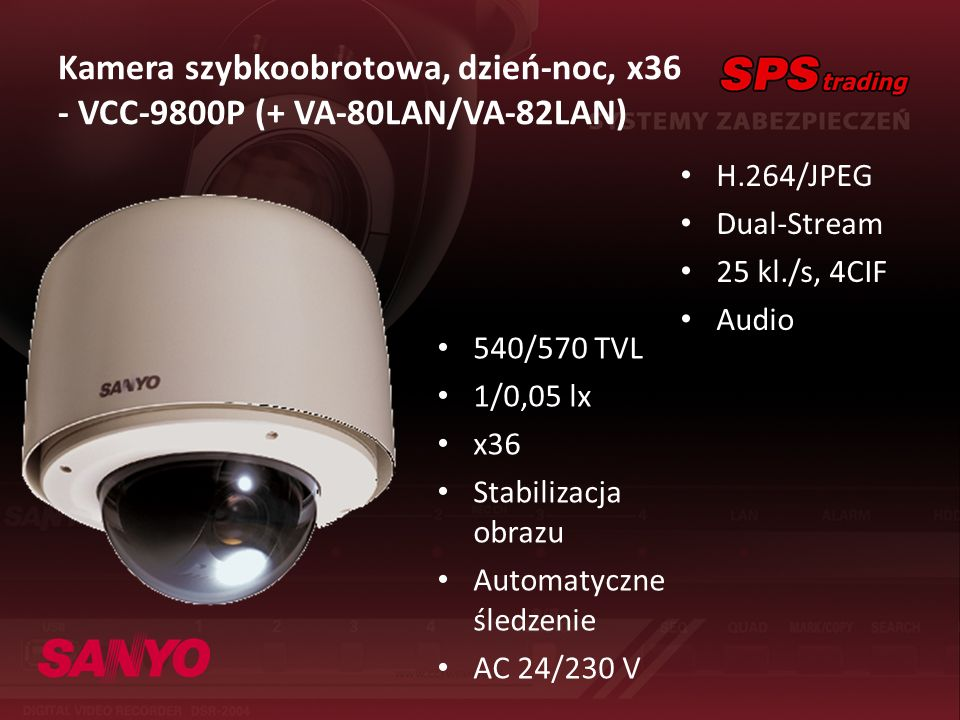 Kamera szybkoobrotowa, dzień-noc, x36 - VCC-9800P (+ VA-80LAN/VA-82LAN) H.264/JPEG Dual-Stream 25 kl./s, 4CIF Audio 540/570 TVL 1/0,05 lx x36 Stabiliz