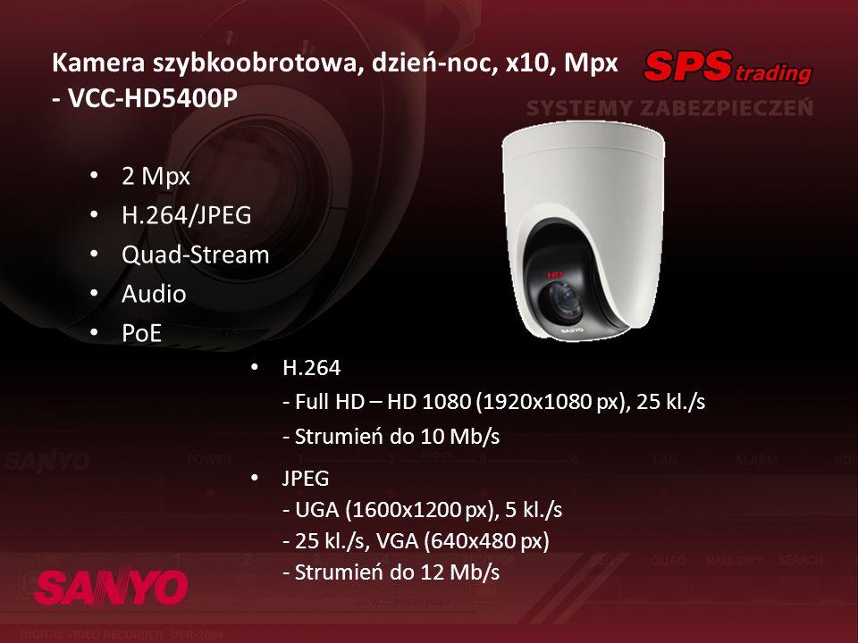 Kamera szybkoobrotowa, dzień-noc, x10, Mpx - VCC-HD5400P 2 Mpx H.264/JPEG Quad-Stream Audio PoE H.264 - Full HD – HD 1080 (1920x1080 px), 25 kl./s - S