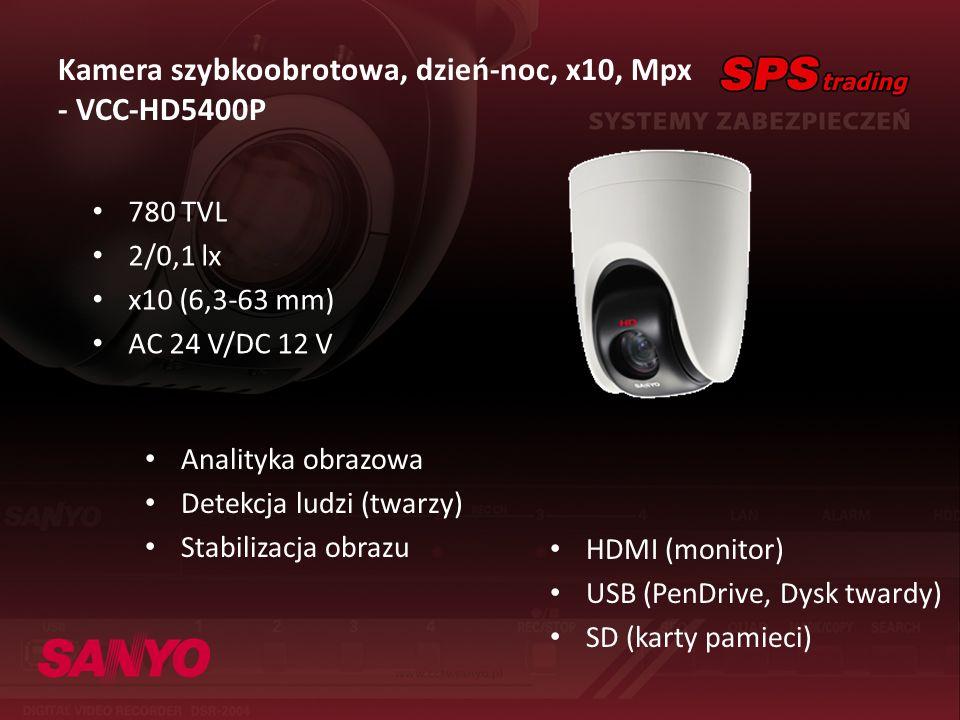 Kamera szybkoobrotowa, dzień-noc, x10, Mpx - VCC-HD5400P 780 TVL 2/0,1 lx x10 (6,3-63 mm) AC 24 V/DC 12 V HDMI (monitor) USB (PenDrive, Dysk twardy) S