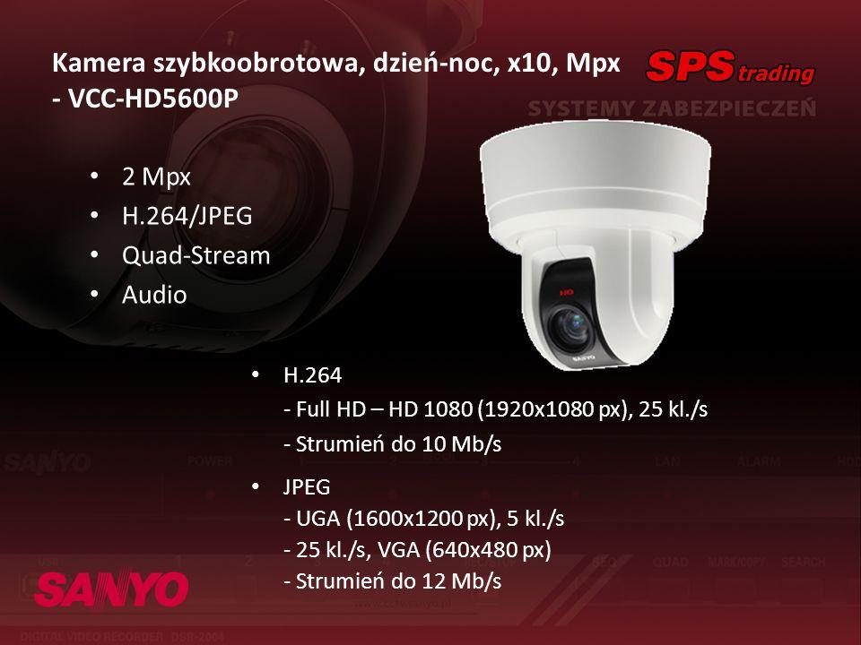 Kamera szybkoobrotowa, dzień-noc, x10, Mpx - VCC-HD5600P 2 Mpx H.264/JPEG Quad-Stream Audio H.264 - Full HD – HD 1080 (1920x1080 px), 25 kl./s - Strum