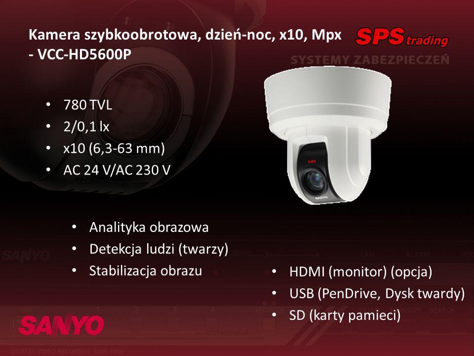 Kamera szybkoobrotowa, dzień-noc, x10, Mpx - VCC-HD5600P 780 TVL 2/0,1 lx x10 (6,3-63 mm) AC 24 V/AC 230 V HDMI (monitor) (opcja) USB (PenDrive, Dysk
