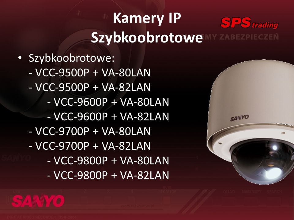 Kamery IP Szybkoobrotowe Szybkoobrotowe: - VCC-9500P + VA-80LAN - VCC-9500P + VA-82LAN - VCC-9600P + VA-80LAN - VCC-9600P + VA-82LAN - VCC-9700P + VA-