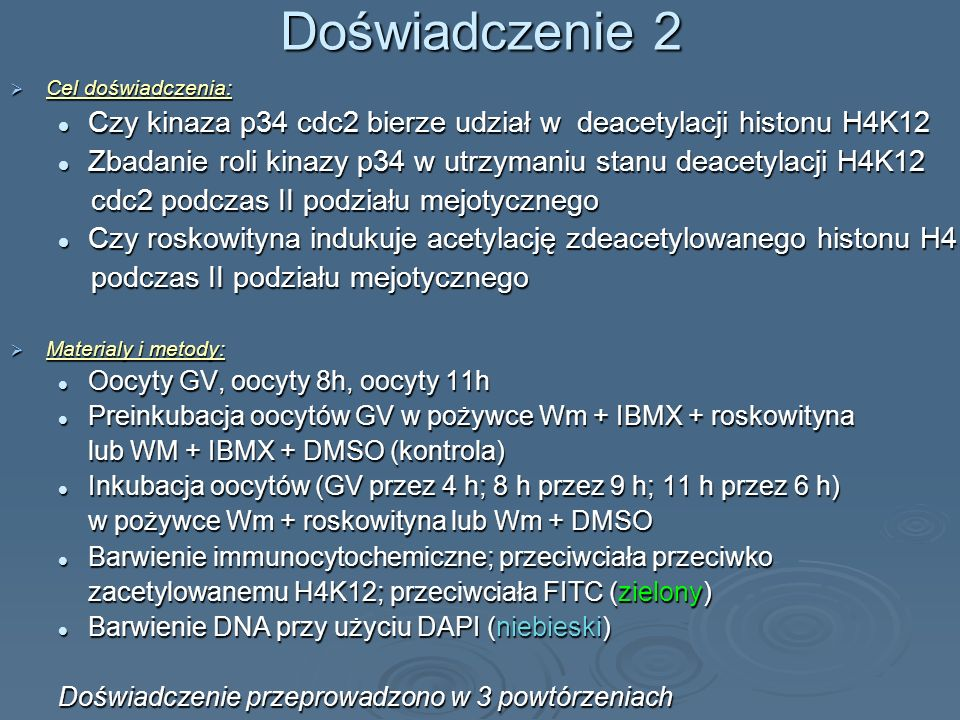 Doświadczenie 2 Cel doświadczenia: Cel doświadczenia: Czy kinaza p34 cdc2 bierze udział w deacetylacji histonu H4K12 Czy kinaza p34 cdc2 bierze udział