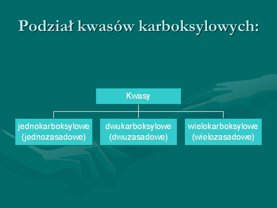Podział kwasów karboksylowych: