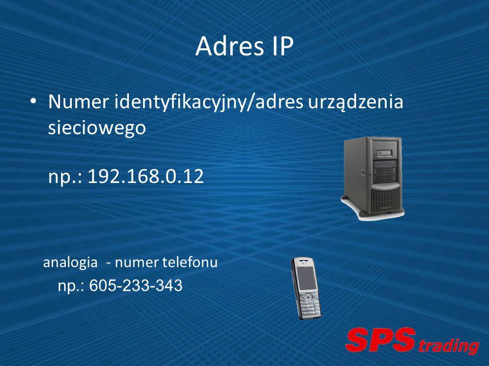 Adres IP Numer identyfikacyjny/adres urządzenia sieciowego np.: 192.168.0.12 analogia - numer telefonu np.: 605-233-343