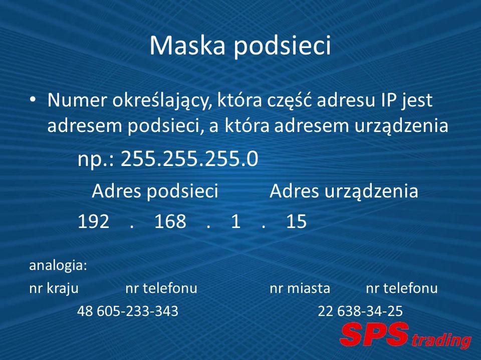 Maska podsieci Numer określający, która część adresu IP jest adresem podsieci, a która adresem urządzenia np.: 255.255.255.0 Adres podsieciAdres urząd