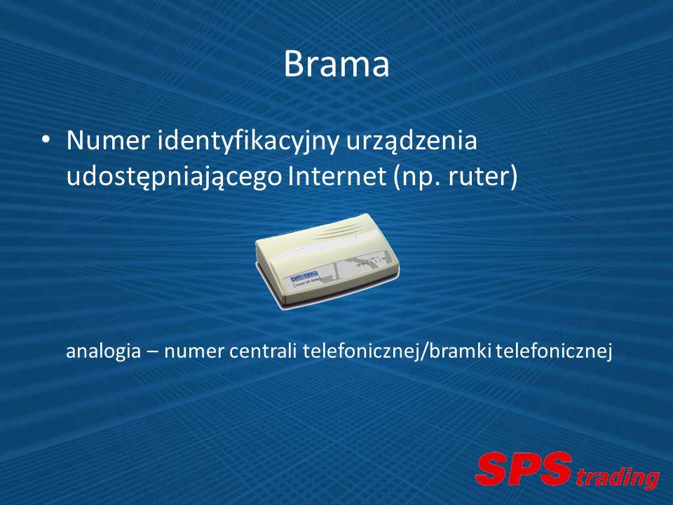 Brama Numer identyfikacyjny urządzenia udostępniającego Internet (np. ruter) analogia – numer centrali telefonicznej/bramki telefonicznej