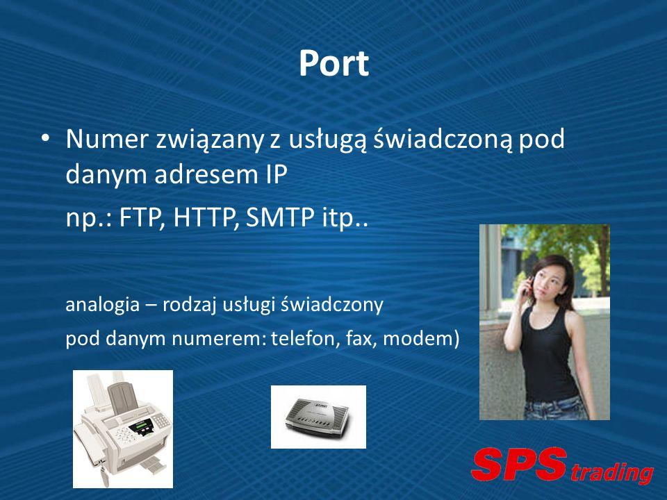 Port Numer związany z usługą świadczoną pod danym adresem IP np.: FTP, HTTP, SMTP itp.. analogia – rodzaj usługi świadczony pod danym numerem: telefon